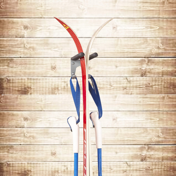 Support mural pour skis et bâtons