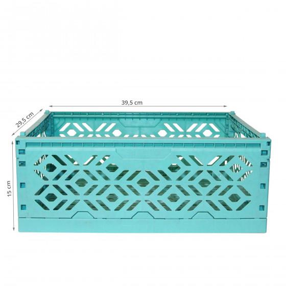 Cagette en plastique turquoise empilable et pliable
