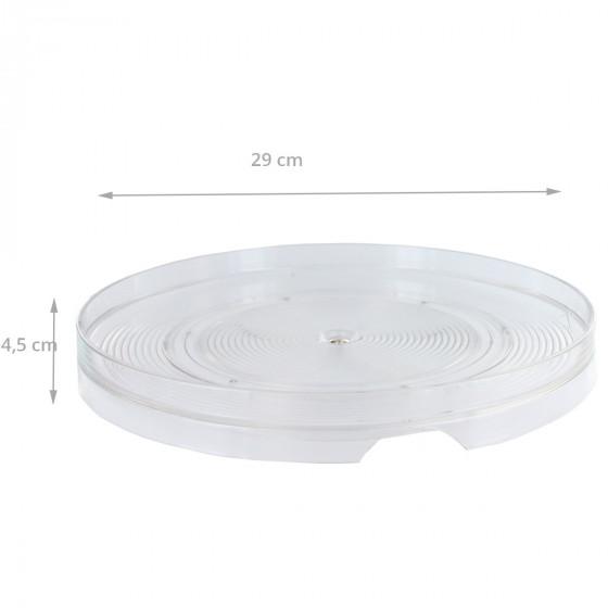 Plateau tournant en plastique transparent