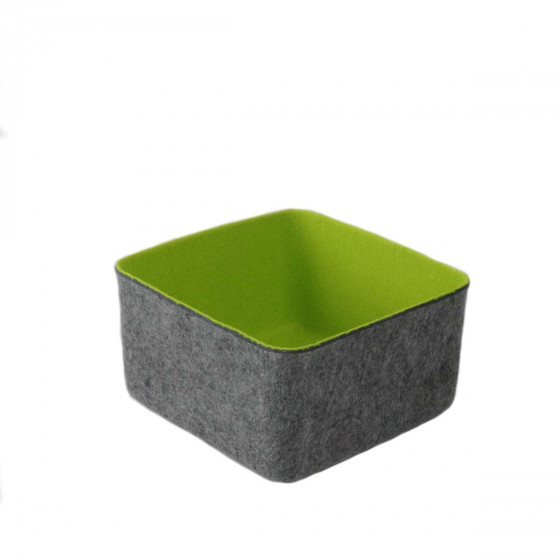 Panier carré en feutrine vert anis