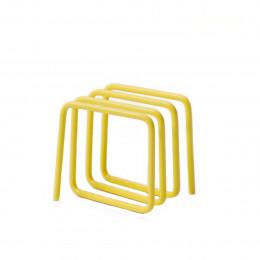 Porte-revues et courrier en métal peint jaune