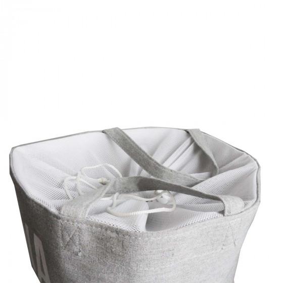Panier à linge gris en tissu avec insription Wash it