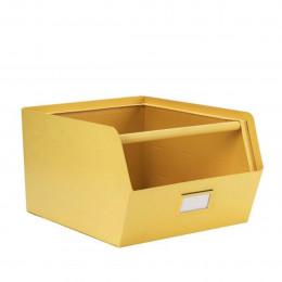 Casier de rangement empilable en métal jaune