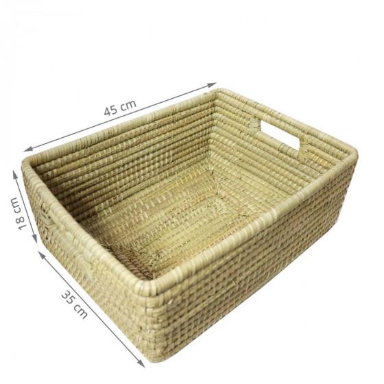 Grand panier de rangement rectangulaire en matière naturelle tressé (L)