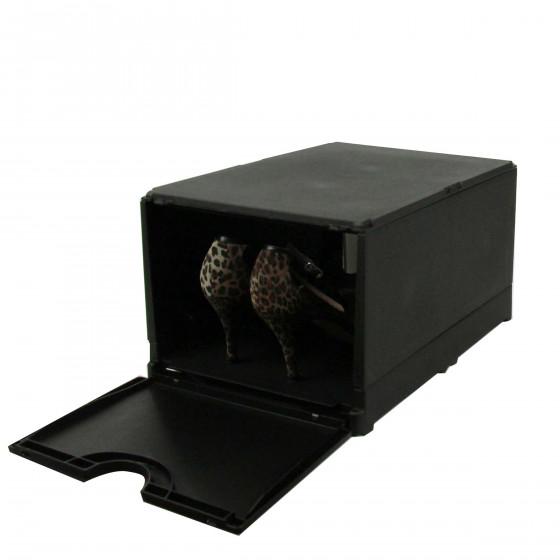 Boîte de rangement pour chaussures pliable et empilable noire