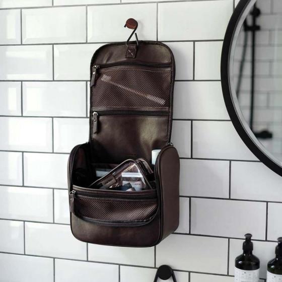 Trousse de toilette à suspendre homme en simili cuir