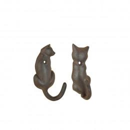 Set de 2 patères chat en fonte