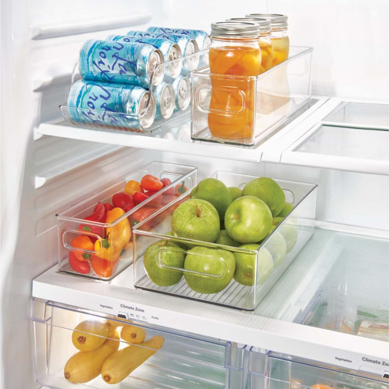 Long et haut bac en plastique S transparent et empilable pour organiser placards et tiroirs