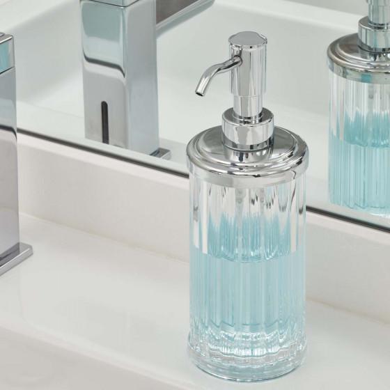 Distributeur de savon en plastique transparent cannelé et en métal