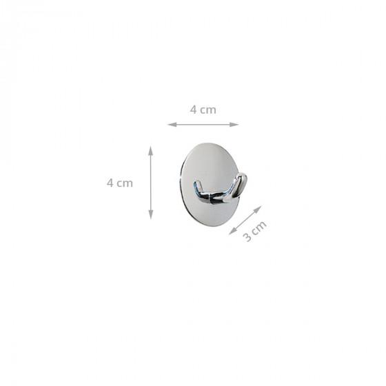 2 crochets adhésifs ronds en métal chromé inoxydable - Diamètre 4cm