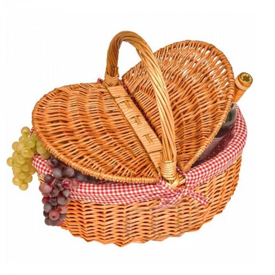 Panier ovale à pique-nique vide en osier et vichy