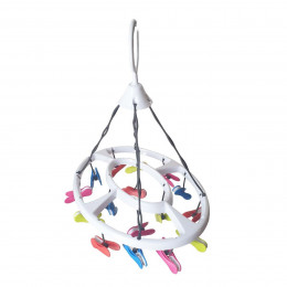 Séchoir linge à suspendre pinces multicolores
