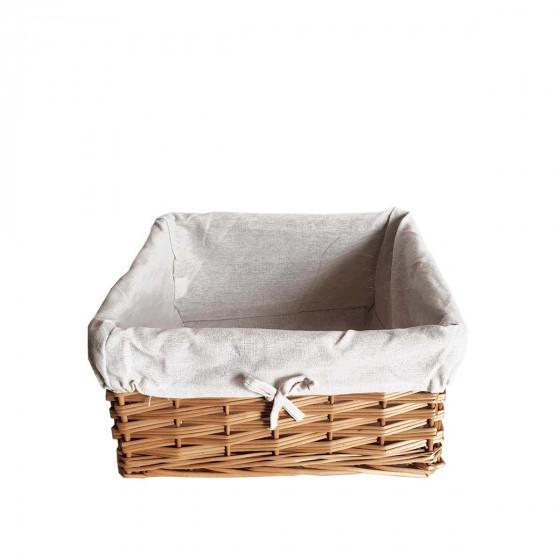 Panier carré en osier avec tissu 35 cm