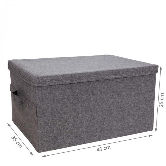Boîte de rangement en tissu gris rigide et pliable L