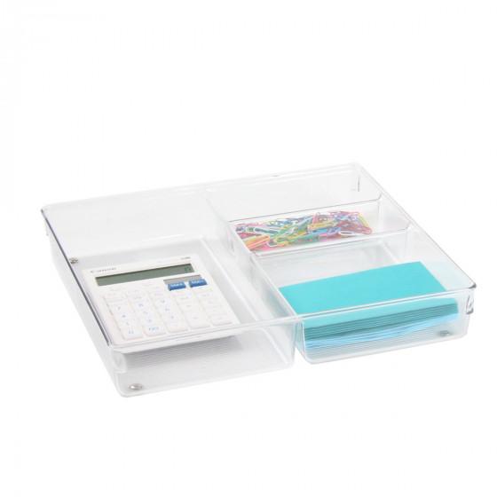 Grand organisateur de tiroirs à 4 compartiments en plastique transparent