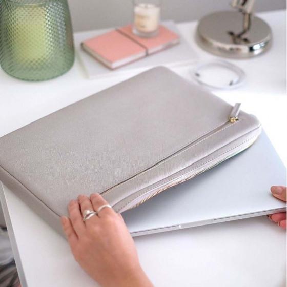 Housse pour ordinateur 13 pouces en simili cuir gris clair