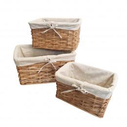 3 paniers gigognes en osier avec coton