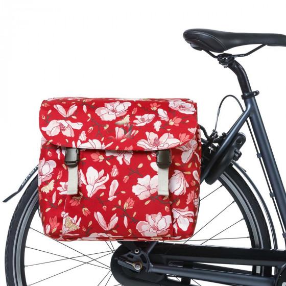 Double sacoche à vélo imperméable rouge