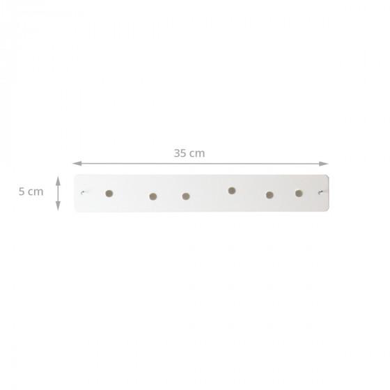 Petite barre magnétique murale blanche avec 6 aimants fins et puissants