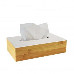 Boîte à mouchoirs en bambou avec couvercle blanc