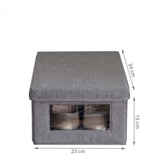 Boîte à chaussures en tissu avec fenêtre