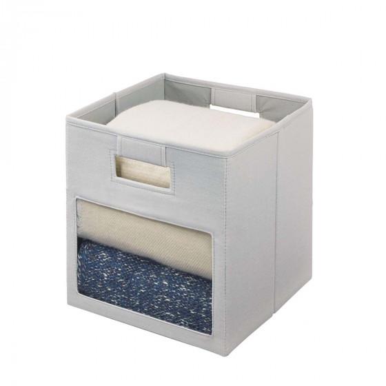 Cube de rangement en tissu avec fenêtre