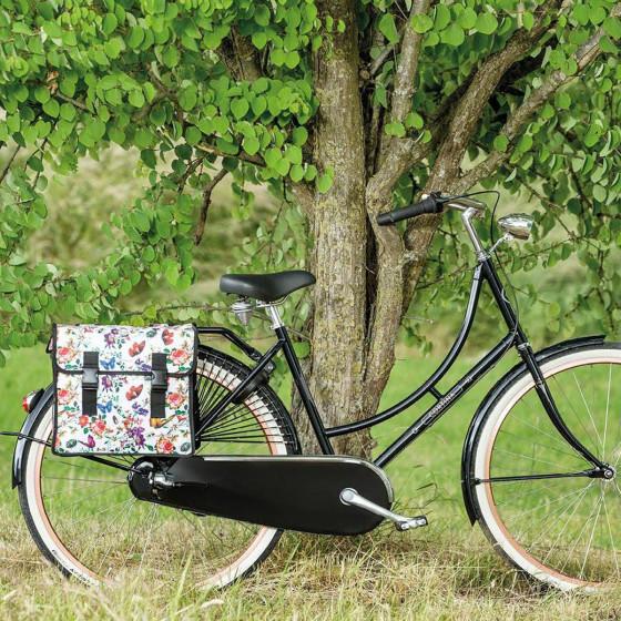 Double sacoche à vélo à fleurs