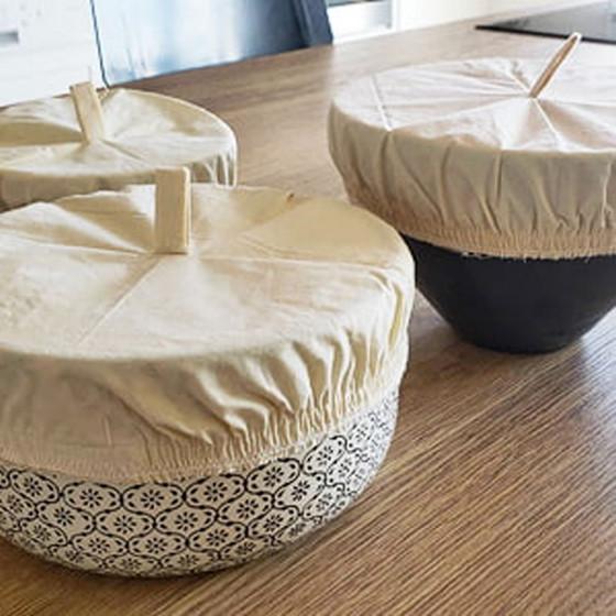 3 couvre saladiers lavables en coton bio