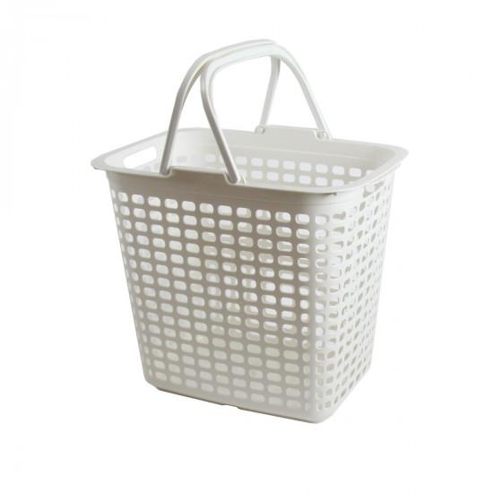 Panier à linge étroit en plastique blanc avec 2 grandes anses. 36 Litres