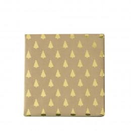 Rouleau de papier cadeau sapins dorés - 3 mètres