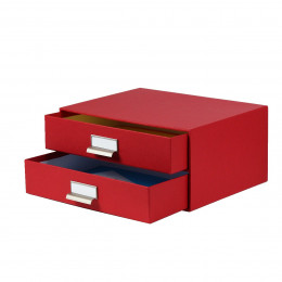 Boîte à 2 tiroirs en carton rouge