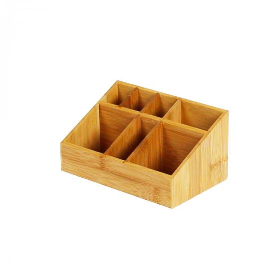 Organisateur de bureau en bambou 7 compartiments