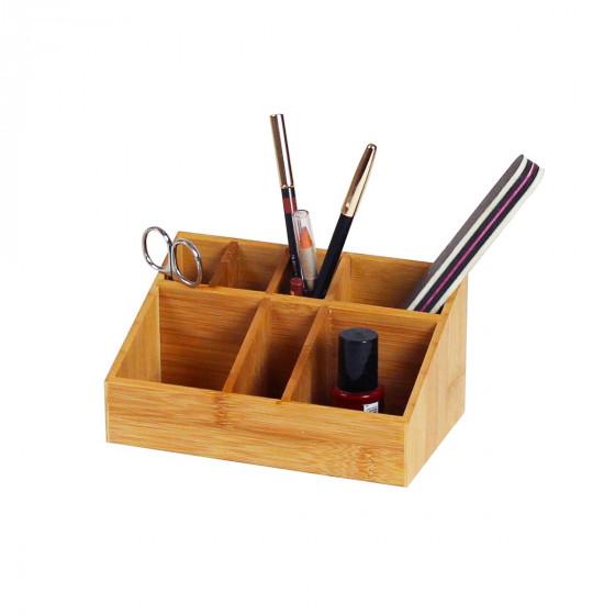 Organisateur de maquillage en bambou 7 compartiments