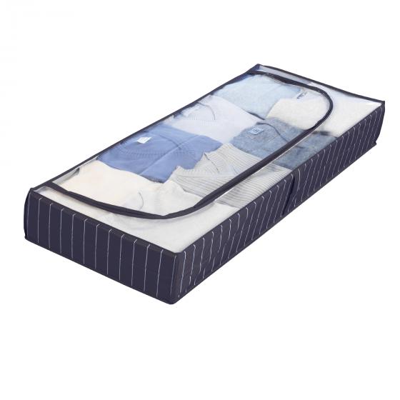 Housse de rangement sous le lit, bleue à rayures blanches