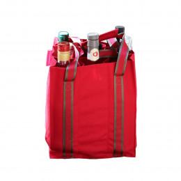 Sac à bouteilles en tissu rouge avec 9 compartiments