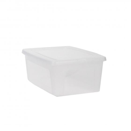 Boîte en plastique transparent avec couvercle. (S)