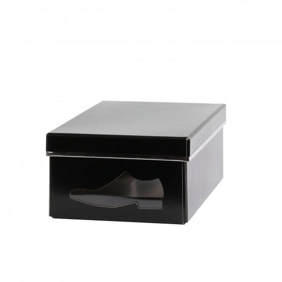 Boîte à chaussures en carton noir avec fenêtre