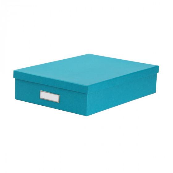 Boîte A4 en carton turquoise