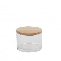 Bocal en acrylique avec couvercle en bois d'hévéa