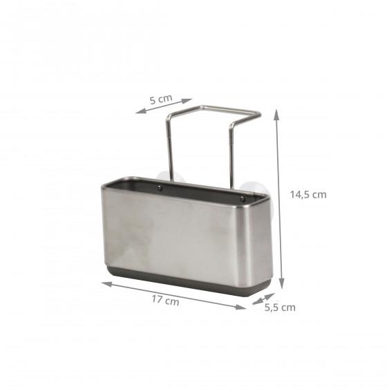 Porte éponges étroit en acier brossé à suspendre dans l'évier
