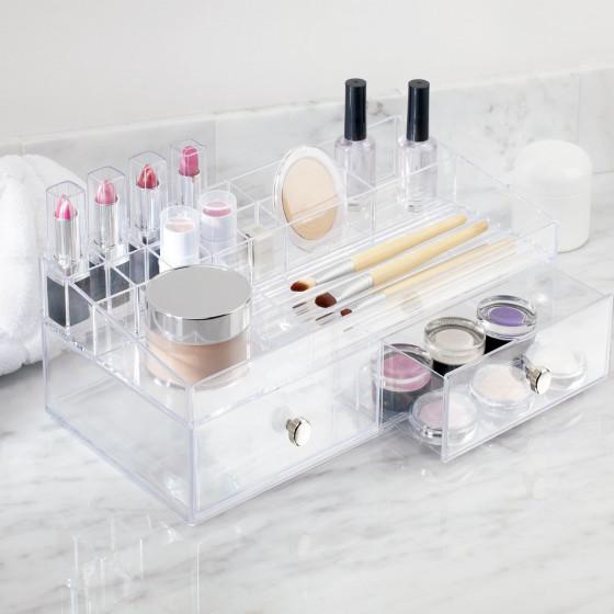 Boîte de rangement pour maquillage avec tiroirs et compartiments