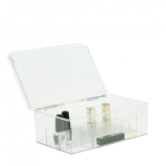 Boîte de rangement pour maquillage transparente à compartiments