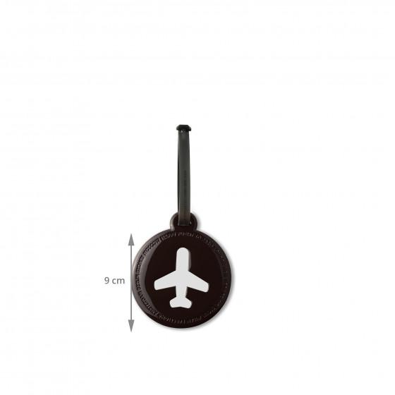 Etiquette de bagage ronde en plastique noir