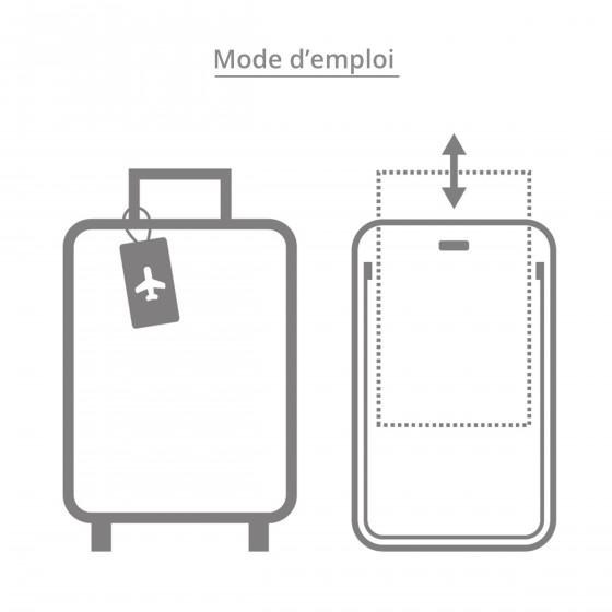 Porte-étiquette de bagage rectangulaire en plastique rouge