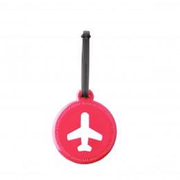 Etiquette  de bagage ronde en plastique fuchsia