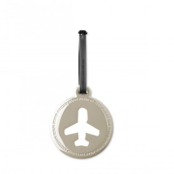 Etiquette de bagage ronde en plastique gris