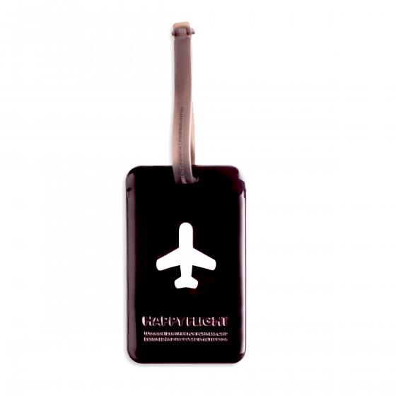 Etiquette de bagage rectangulaire en plastique noir