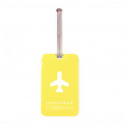 Etiquette de bagage rectangulaire en plastique jaune