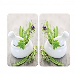 2 couvre-plaques de cuisson avec motif herbes aromatiques