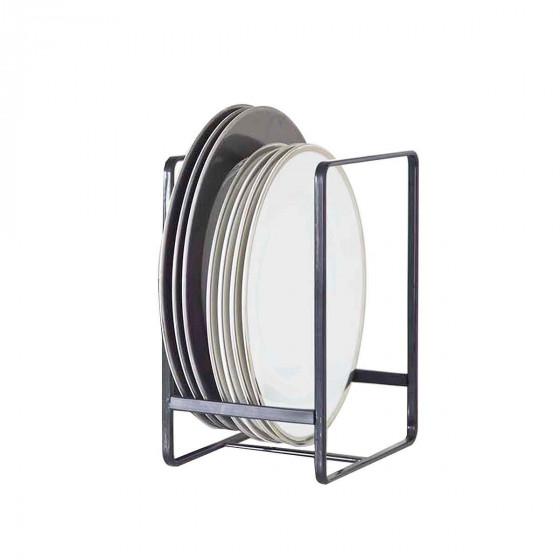 Rangement vertical pour grandes assiettes en métal noir